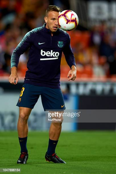 Arthur Melo in the warm up before the week 8 of La Liga match between Valencia CF and FC Barcelona at Mestalla Stadium in Valencia Spain on October 7...