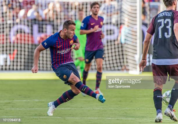 Arthur Melo Midfielder, FC Barcelona passes across field during the International Champions Cup match between AC Milan and FC Barcelona on Saturday,...