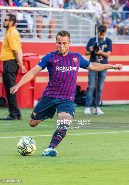 Arthur Melo Midfielder, FC Barcelona passes the ball during the International Champions Cup match between AC Milan and FC Barcelona on Saturday,...