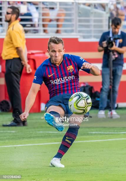 Arthur Melo Midfielder, FC Barcelona passes the ball toward the goal during the International Champions Cup match between AC Milan and FC Barcelona...