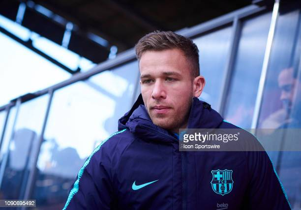 Arthur Melo midfielder of FC Barcelona looks before the La Liga match between Girona FC and FC Barcelona at Montilivi Stadium on January 27 2019 in...