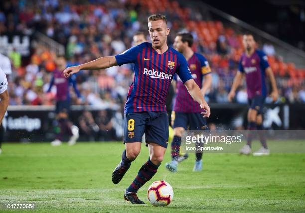 Arthur Melo, midfielder of FC Barcelona with the ball during the La Liga match between Valencia CF and FC Barcelona at Mestalla Stadium on October 7,...