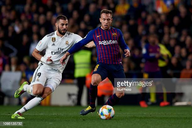 Arthur Melo of Barcelona and Karim Benzema of Real Madrid during the Spanish Cup , first leg semi-final match between FC Barcelona and Real Madrid at...