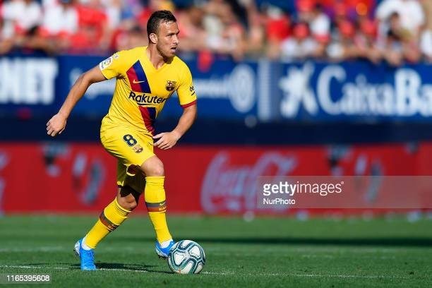 Arthur Melo of Barcelona controls the ball during the Liga match between CA Osasuna and FC Barcelona at on August 31 2019 in Pamplona Spain