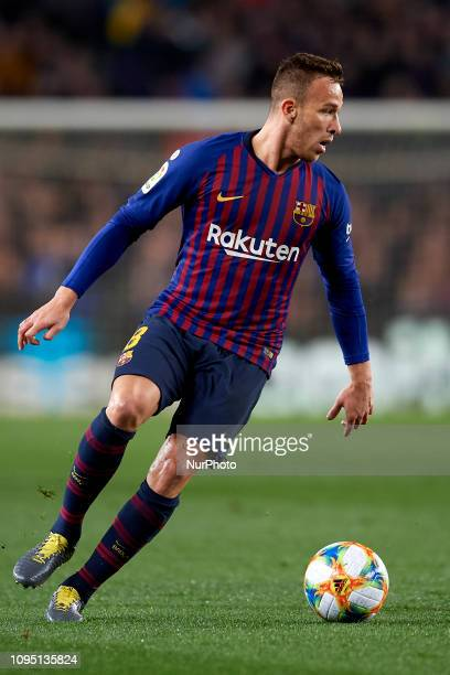Arthur Melo of Barcelona controls the ball during the Spanish Cup , first leg semi-final match between FC Barcelona and Real Madrid at Camp Nou...