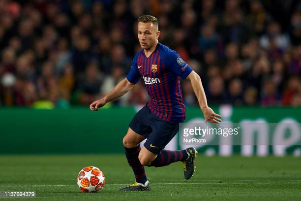 Arthur Melo of Barcelona controls the ball during the UEFA Champions League Quarter Final second leg match between FC Barcelona and Manchester United...