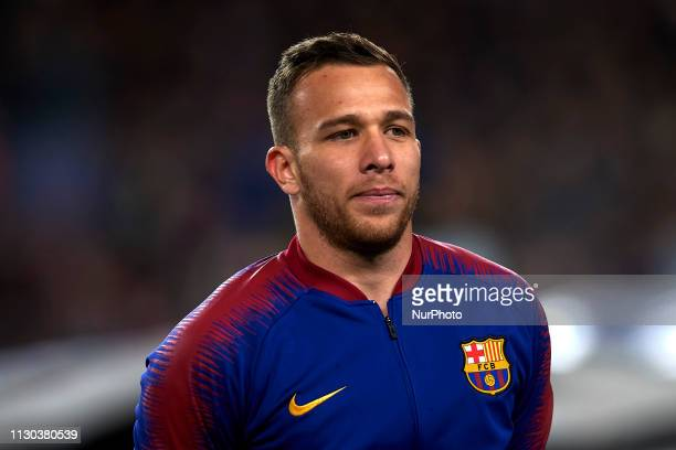 Arthur Melo of Barcelona during the UEFA Champions League Round of 16 Second Leg match between FC Barcelona and Olympique Lyonnais at Nou Camp on...
