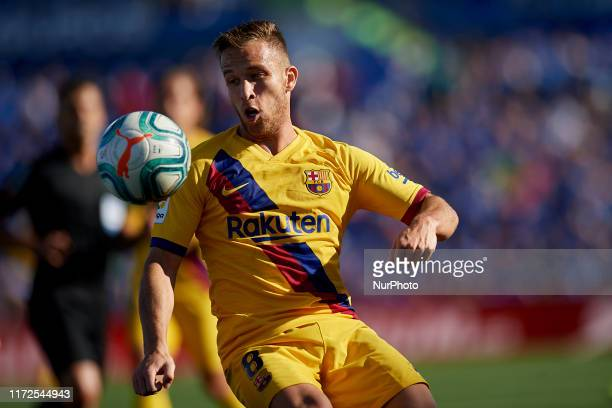 Arthur Melo of Barcelona in action during the Liga match between Getafe CF and FC Barcelona at Coliseum Alfonso Perez on September 29 2019 in Getafe...