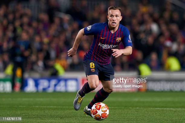 Arthur Melo of Barcelona in action during the UEFA Champions League Quarter Final second leg match between FC Barcelona and Manchester United at Camp...