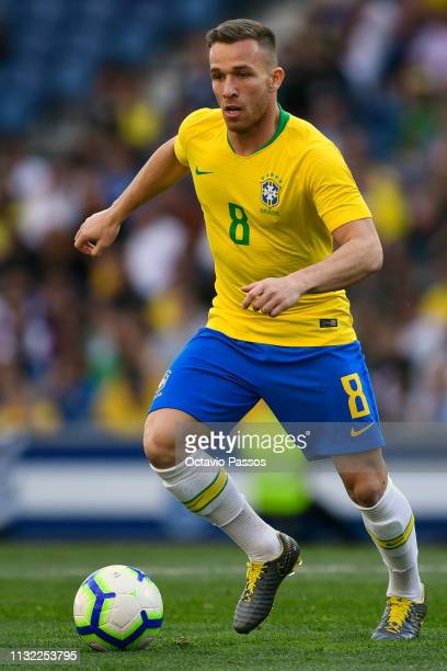 Arthur Melo of Brazil in action during the international friendly match between Brazil and Panama at Estadio do Dragao on March 23, 2019 in Porto,...