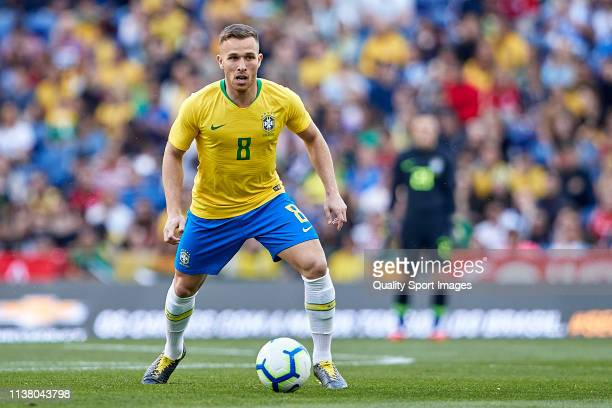 Arthur Melo of Brazil in action during the International Friendly match between Brazil and Panama at Estadio do Dragao on March 23 2019 in Porto...