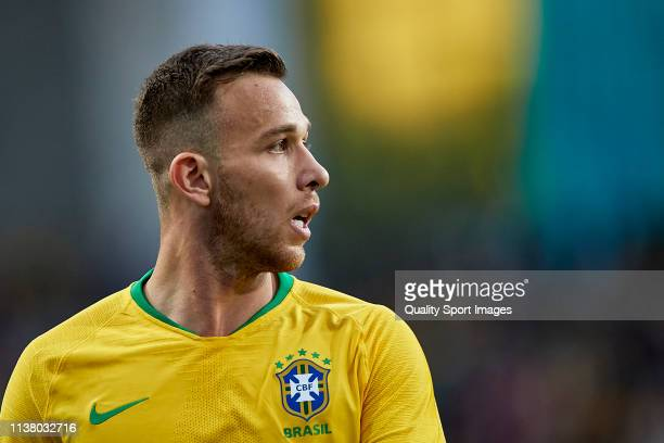 Arthur Melo of Brazil looks on during the International Friendly match between Brazil and Panama at Estadio do Dragao on March 23 2019 in Porto...