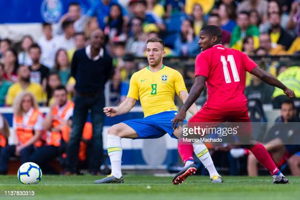 Arthur Melo of Brazil looks to bring the ball down during the International Friendly Match between Brazil and Panama at Estadio do Dragao on March 23...