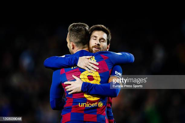 Arthur Melo of FC Barcelona celebrates a goal with Lionel Messi during the Spanish Cup, Copa del Rey, football match played between FC Barcelona and...
