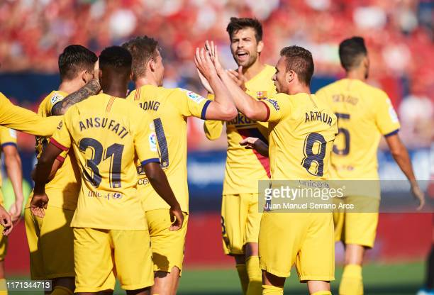 Arthur Melo of FC Barcelona celebrates after scoring his team's second goal during the Liga match between CA Osasuna and FC Barcelona at Estadio...