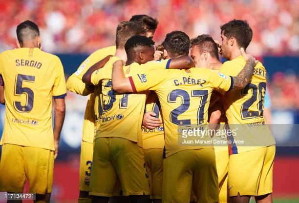 Arthur Melo of FC Barcelona celebrates with teammates after scoring his team's second goal during the Liga match between CA Osasuna and FC Barcelona...