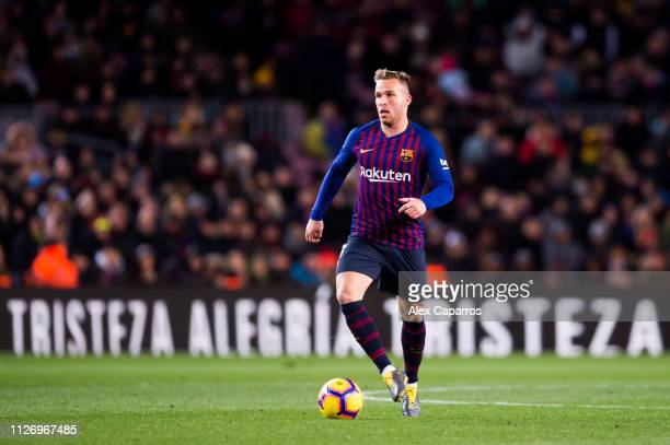 Arthur Melo of FC Barcelona conducts the ball during the La Liga match between FC Barcelona and Valencia CF at Camp Nou on February 02 2019 in...