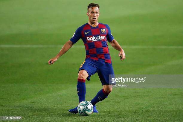 Arthur Melo of FC Barcelona controls the ball during the Liga match between FC Barcelona and Athletic Club at Camp Nou on June 23 2020 in Barcelona...