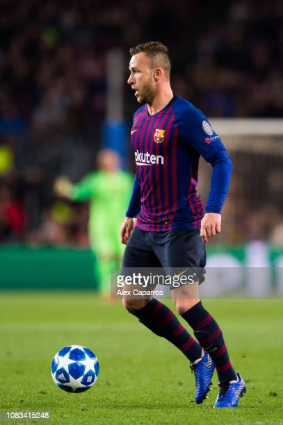 Arthur Melo of FC Barcelona controls the ball during the UEFA Champions League Group B match between FC Barcelona and Tottenham Hotspur at Camp Nou...