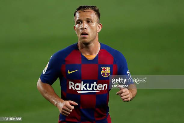 Arthur Melo of FC Barcelona folows the action during the Liga match between FC Barcelona and Athletic Club at Camp Nou on June 23, 2020 in Barcelona,...