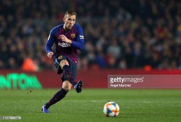 Arthur Melo of FC Barcelona in action during the Copa del Rey Semi Final match between FC Barcelona and Real Madrid at Nou Camp on February 06 2019...