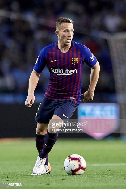 Arthur Melo of FC Barcelona in action during the La Liga match between RC Celta de Vigo and FC Barcelona at Abanca Balaidos Stadium on May 04 2019 in...