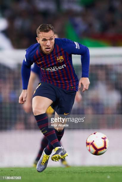Arthur Melo of FC Barcelona in action during the La Liga match between Real Betis Balompie and FC Barcelona at Estadio Benito Villamarin on March 17...