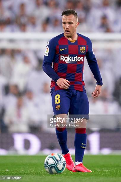 Arthur Melo of FC Barcelona in action during the La Liga match between Real Madrid CF and FC Barcelona at Estadio Santiago Bernabeu on March 01 2020...