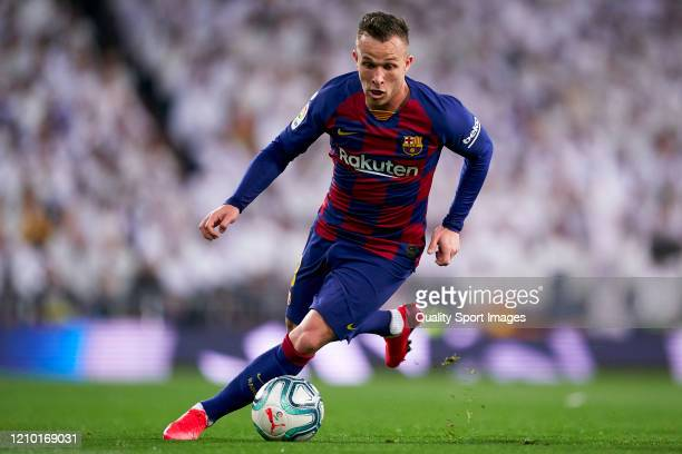 Arthur Melo of FC Barcelona in action during the La Liga match between Real Madrid CF and FC Barcelona at Estadio Santiago Bernabeu on March 01, 2020...