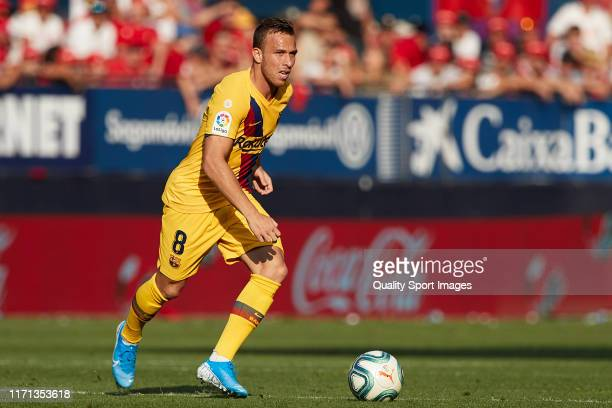 Arthur Melo of FC Barcelona in action during the Liga match between CA Osasuna and FC Barcelona at Estadio El Sadar on August 31 2019 in Pamplona...
