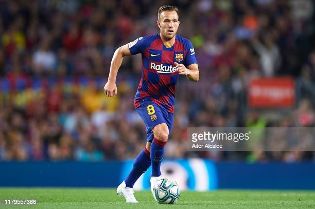 Arthur Melo of FC Barcelona in action during the Liga match between FC Barcelona and Sevilla FC at Camp Nou on October 06, 2019 in Barcelona, Spain.