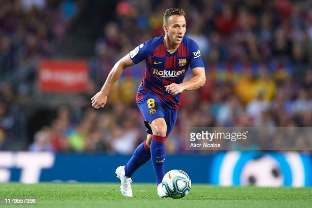 Arthur Melo of FC Barcelona in action during the Liga match between FC Barcelona and Sevilla FC at Camp Nou on October 06 2019 in Barcelona Spain