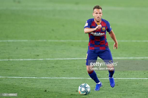 Arthur Melo of FC Barcelona in action during the Liga match between Sevilla FC and FC Barcelona at Estadio Ramon Sanchez Pizjuan on June 19 2020 in...