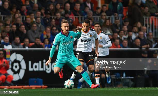 Arthur Melo of FC Barcelona in action during the Spanish League, La Liga, football match played between Valencia CF and FC Barcelona at Mestalla...