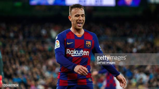 Arthur Melo of FC Barcelona looks dejected during the Liga match between Real Madrid CF and FC Barcelona at Estadio Santiago Bernabeu on March 1,...