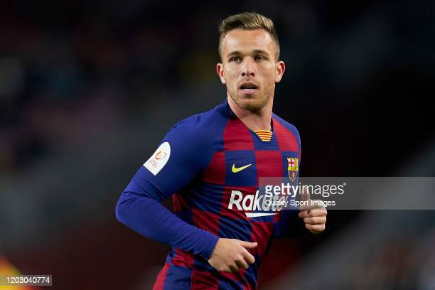 Arthur Melo of FC Barcelona looks on during the Copa del Rey Round of 16 match between FC Barcelona and CD Leganes at Camp Nou on January 30, 2020 in...