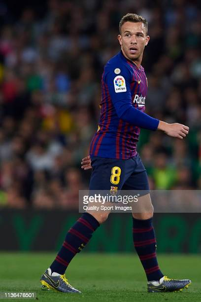 Arthur Melo of FC Barcelona looks on during the La Liga match between Real Betis Balompie and FC Barcelona at Estadio Benito Villamarin on March 17...