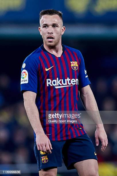 Arthur Melo of FC Barcelona looks on during the La Liga match between Villarreal CF and FC Barcelona at Estadio de la Ceramica on April 02 2019 in...