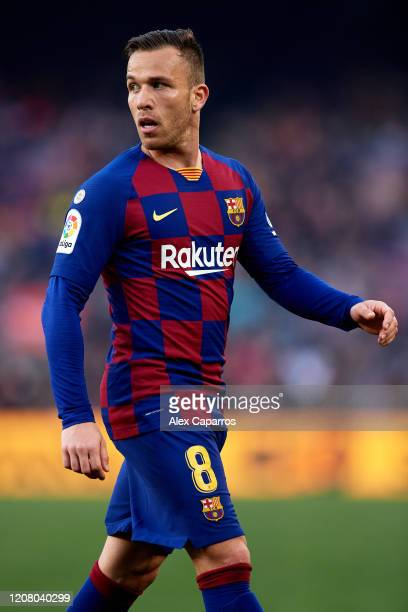 Arthur Melo of FC Barcelona looks on during the La Liga match between FC Barcelona and SD Eibar SAD at Camp Nou on February 22, 2020 in Barcelona,...