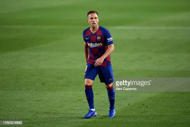 Arthur Melo of FC Barcelona looks on during the La Liga match between FC Barcelona and CD Leganes at Camp Nou on June 16, 2020 in Barcelona, Spain.