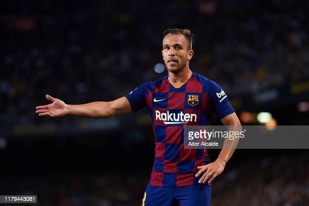 Arthur Melo of FC Barcelona looks on during the Liga match between FC Barcelona and Sevilla FC at Camp Nou on October 06, 2019 in Barcelona, Spain.