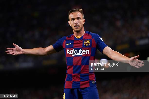 Arthur Melo of FC Barcelona looks on during the Liga match between FC Barcelona and Sevilla FC at Camp Nou on October 06 2019 in Barcelona Spain