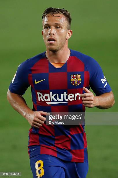 Arthur Melo of FC Barcelona looks on during the Liga match between FC Barcelona and Athletic Club at Camp Nou on June 23, 2020 in Barcelona, Spain.