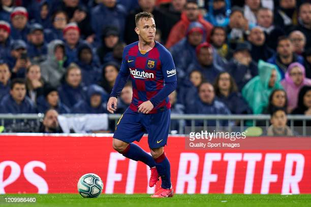 Arthur Melo of FC Barcelona looks on during the Liga match between Real Madrid CF and FC Barcelona at Estadio Santiago Bernabeu on March 01, 2020 in...