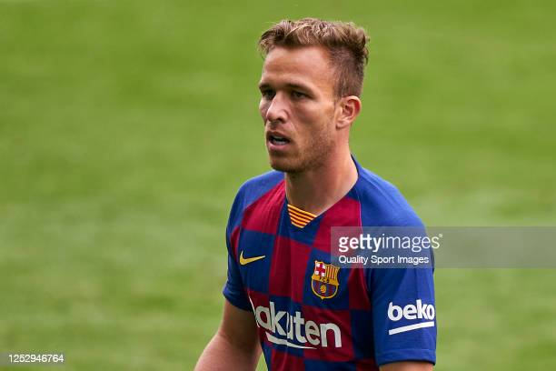 Arthur Melo of FC Barcelona looks on during the Liga match between RC Celta de Vigo and FC Barcelona at AbancaBalaídos on June 27 2020 in Vigo Spain