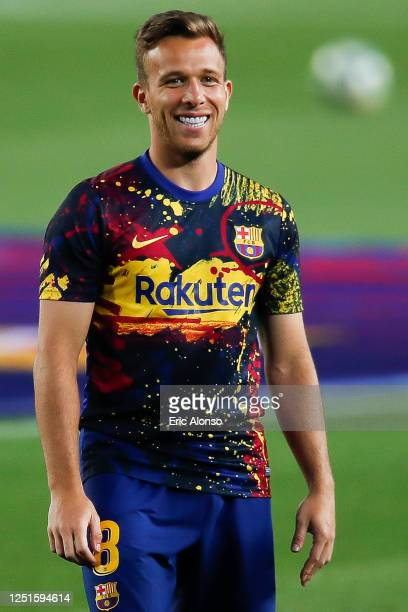 Arthur Melo of FC Barcelona looks on during the warm up prior the Liga match between FC Barcelona and Athletic Club at Camp Nou on June 23 2020 in...
