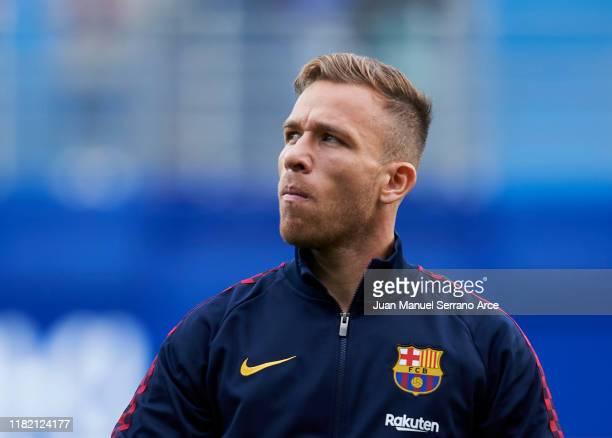 Arthur Melo of FC Barcelona looks on prior to the start the La Liga match between SD Eibar SAD and FC Barcelona at Ipurua Municipal Stadium on...