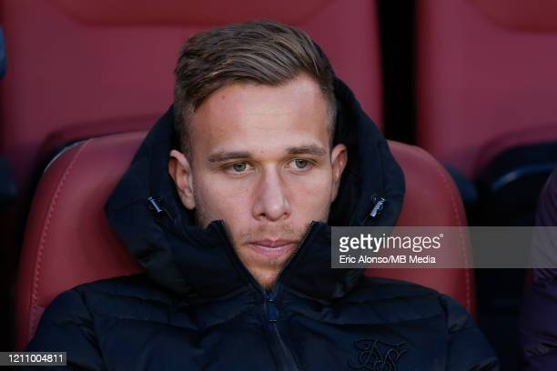 Arthur Melo of FC Barcelona on the stands during the Liga match between FC Barcelona and Real Sociedad at Camp Nou on March 07 2020 in Barcelona Spain