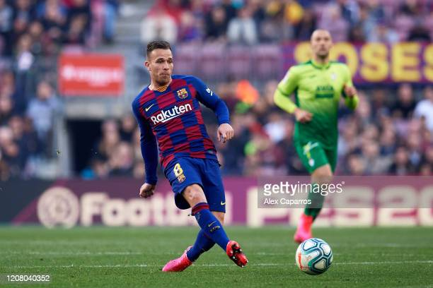 Arthur Melo of FC Barcelona plays the ball during the La Liga match between FC Barcelona and SD Eibar SAD at Camp Nou on February 22 2020 in...