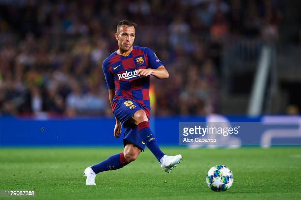Arthur Melo of FC Barcelona plays the ball during the UEFA Champions League group F match between FC Barcelona and Inter at Camp Nou on October 02...